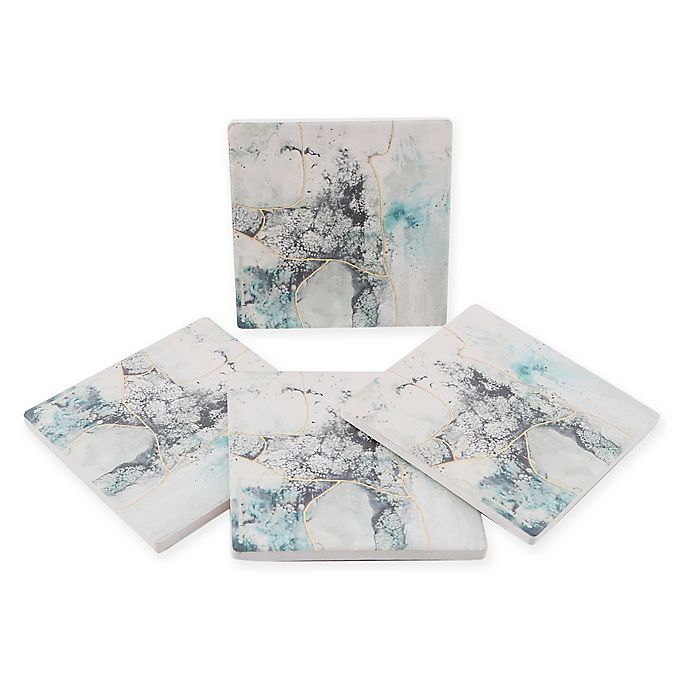 Alternate image 1 for Thirstystone® Dolomite Sea Glass Square Coasters (Set of 4)
