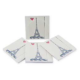Thirstystone® Dolomite Paris Heart Square Coasters (Set of 4)