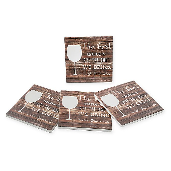 Alternate image 1 for Thirstystone® Dolomite Best Wines Square Coasters (Set of 4)