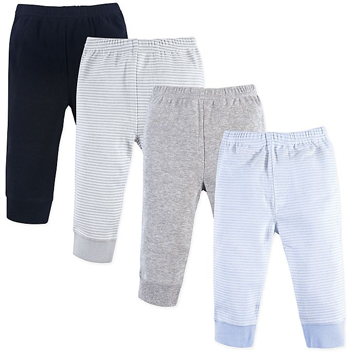 Alternate image 1 for Luvable Friends® Size 0-3M 4-Pack Pants Set in Blue/Grey