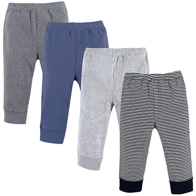 Alternate image 1 for Luvable Friends Size 6-9M 4-Pack Tapered Pants in Black