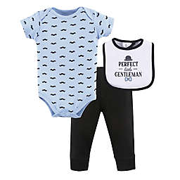 Hudson Baby® 6-9M Little Gentleman Bodysuit, Pants, and Bib Set in Blue