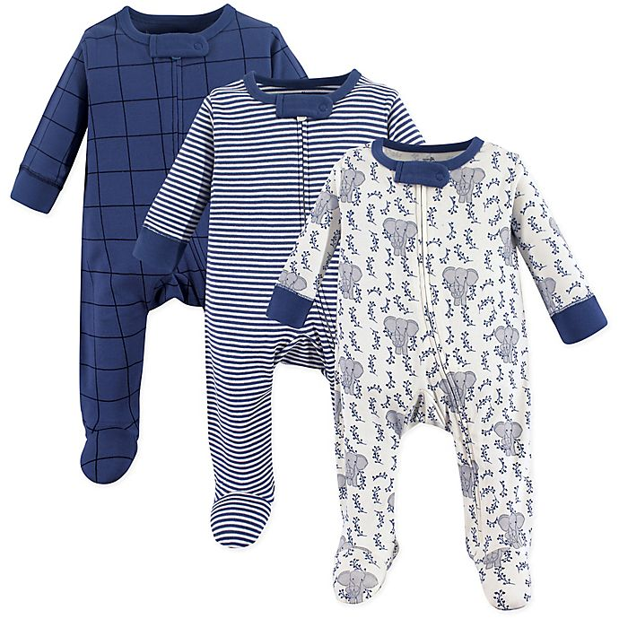 Alternate image 1 for Touched by Nature 3-Pack Elephant Organic Long Sleeve Bodysuits