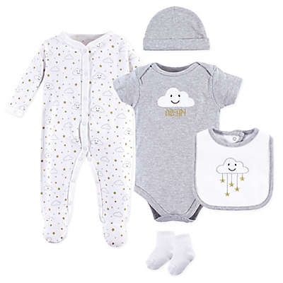 Hudson Baby® 5-Piece Cloud Layette Set in Grey