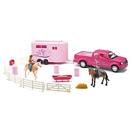 New-Ray Pick Up Truck & Trailer Horse Playset in Pink