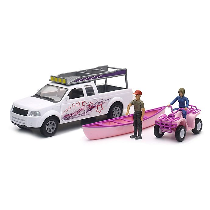 Alternate image 1 for New-Ray 1:20 Camping Adventure Pickup Truck with ATV in Pink