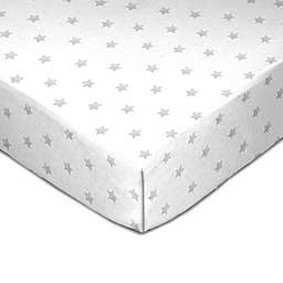 Living Textiles Grey Star Fitted Crib Sheet