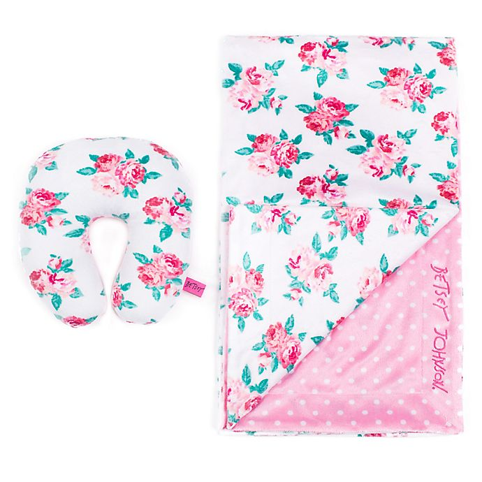 67142fe52 Betsey Johnson® 2-Piece Floral Baby Blanket/Pillow Set in Pink | Bed ...