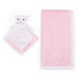 Betsey Johnson® 2-Piece Baby Blanket/Teddy Bear Plush Toy Set in Pink