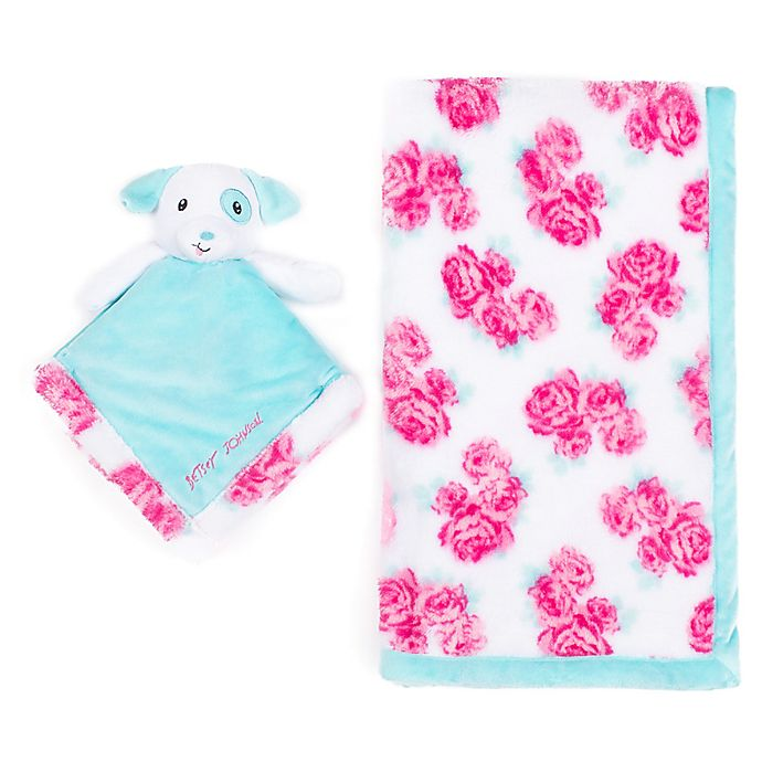 Alternate image 1 for Betsey Johnson® 2-Piece Baby Blanket/Puppy Plush Toy Set in Pink/Blue