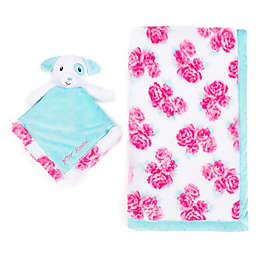Betsey Johnson® 2-Piece Baby Blanket/Puppy Plush Toy Set in Pink/Blue