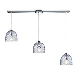 ELK Lighting Viva 3-Light Linear Pendant Ceiling Lamp in Polished Chrome/Clear