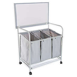 Lavish Home's 3 Bin Laundry Sorter and Ironing Station in Grey