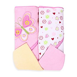 Spasilk® Two Hooded Towels & Washcloth Set - Butterfly