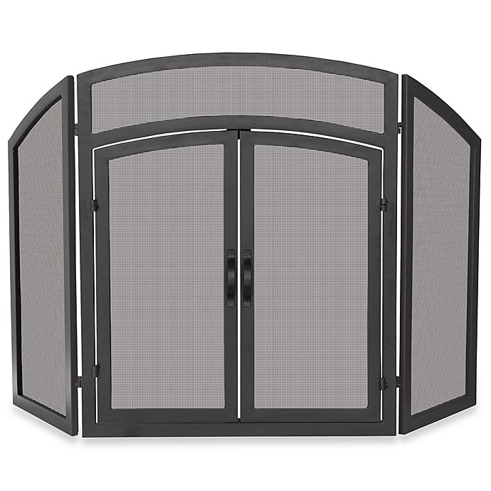 Alternate image 1 for UniFlame® Fireplace Screen - 3-Fold Arch Top with Doors (Black Wrought Iron)