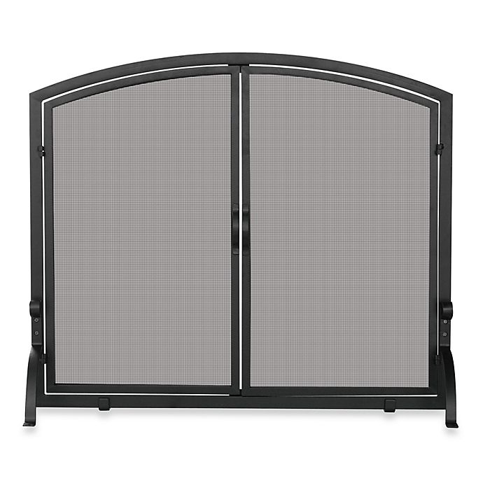 Alternate image 1 for UniFlame® Large Fireplace Screen in Single Panel with Doors in Black Wrought Iron
