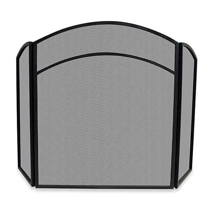 Alternate image 1 for UniFlame® 3-Fold Arch Top Fireplace Screen in Black Wrought Iron