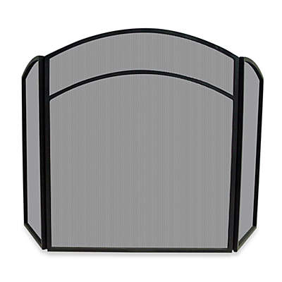 UniFlame® 3-Fold Arch Top Fireplace Screen in Black Wrought Iron