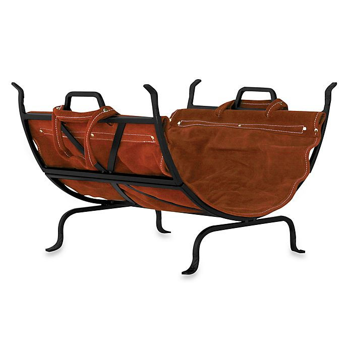 Alternate image 1 for UniFlame® Log Holder with Leather Carrier (Black Wrought Iron)