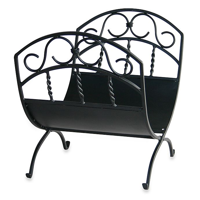 Alternate image 1 for UniFlame® Log Rack with Scrolls in Black Wrought Iron