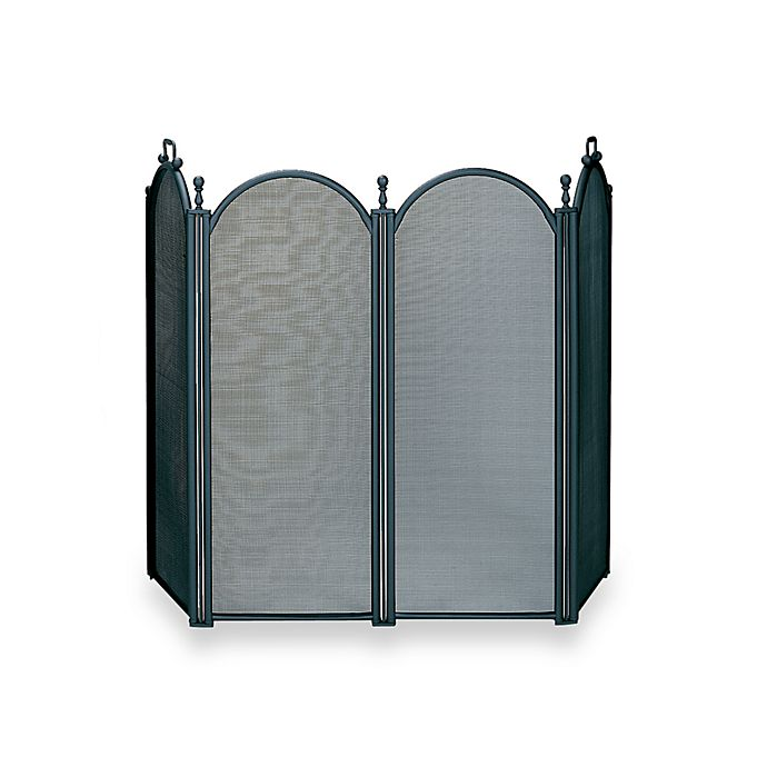 Alternate image 1 for UniFlame® 4-Fold Large Diameter Fireplace Screen with Woven Mesh in Black Finish