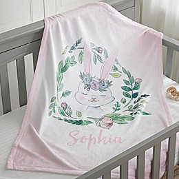 Woodland Floral Bunny Fleece Baby Blanket