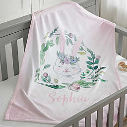 Woodland Floral Bunny Fleece Baby Blanket