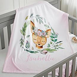 Woodland Floral Deer Fleece Baby Blanket