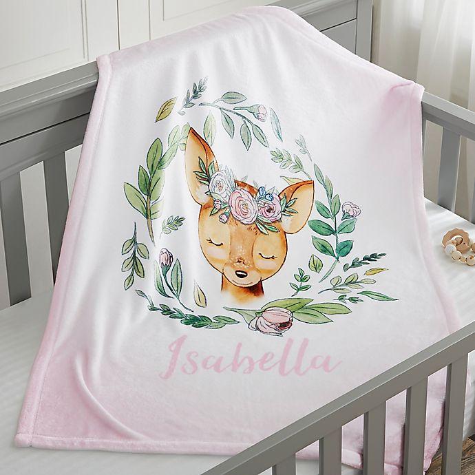 Alternate image 1 for Woodland Floral Deer Fleece Baby Blanket