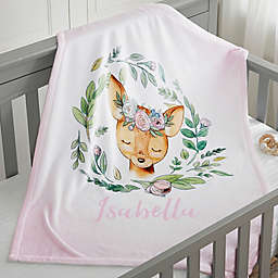 Woodland Floral Deer Fleece Baby Blanket