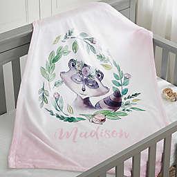 Woodland Floral Raccoon Fleece Baby Blanket