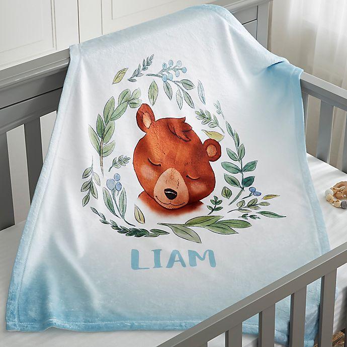 Alternate image 1 for Woodland Bear Fleece Baby  Blanket