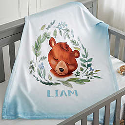 Woodland Bear Fleece Baby Blanket