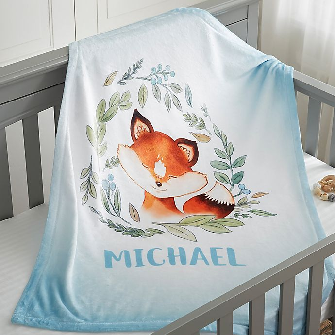 Alternate image 1 for Woodland Fox Fleece Baby Blanket