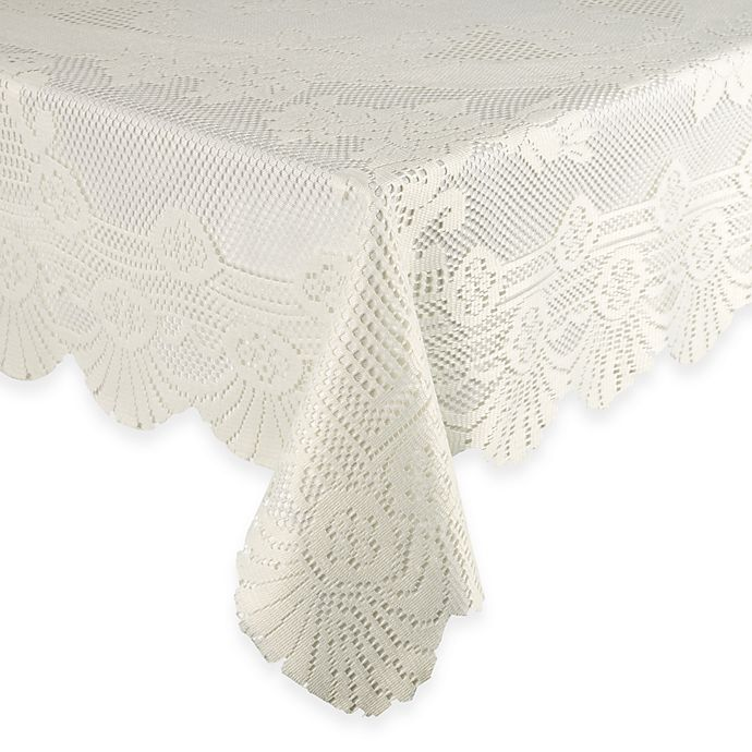 Alternate image 1 for Lace Tablecloth 63-Inch x 90-Inch Oblong in Ivory