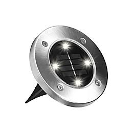 Bell + Howell Disk Light Solar Powered Lights in Stainless Steel (Set of 4)