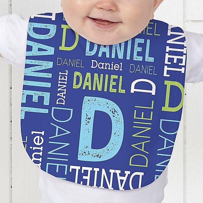 Alternate image 1 for Repeating Name Baby Bib