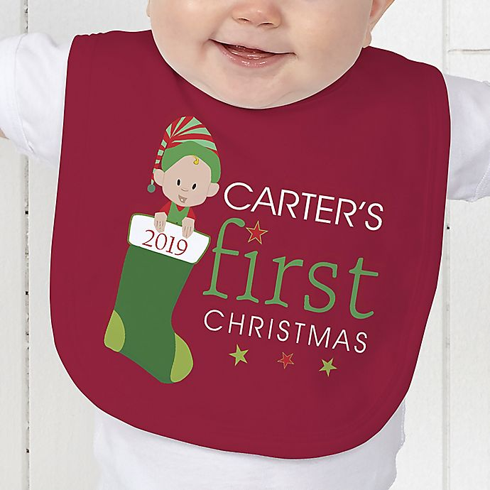Alternate image 1 for Baby's First Christmas Character Baby Bib