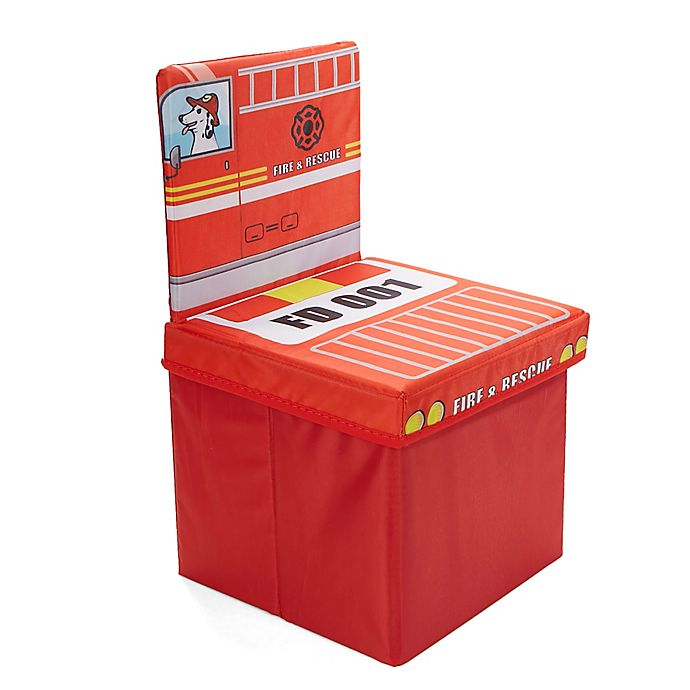 Alternate image 1 for Mind Reader Fire Fighter Kid's Storage Stool/Chair