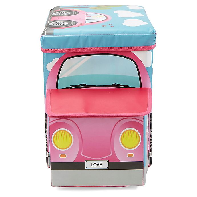Alternate image 1 for Mind Reader Pink Buggy Car Kid's Stool/Chair Toy Box