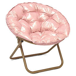 Folding Metallic Saucer Chair in Rose Gold