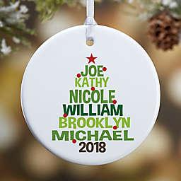 Christmas Family Tree 1-Sided Glossy Christmas Ornament