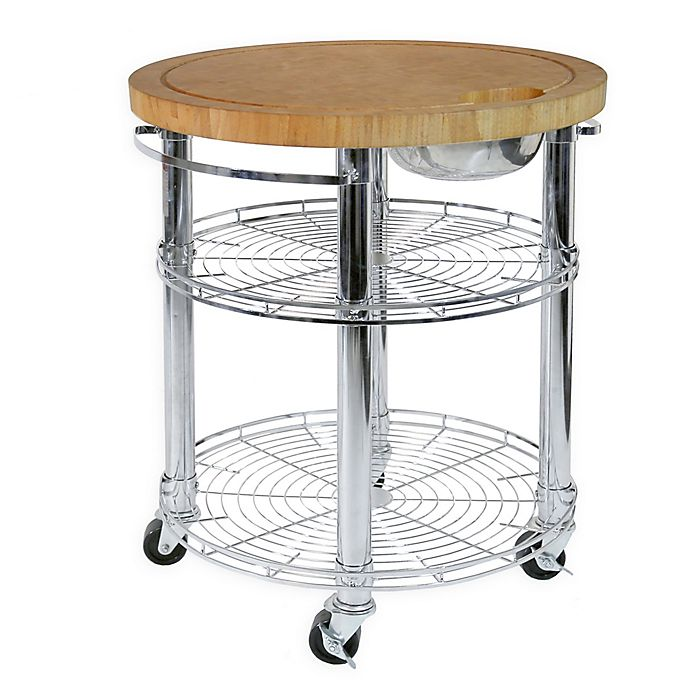 Seville Classics Stainless Steel Round Kitchen Island Cart With