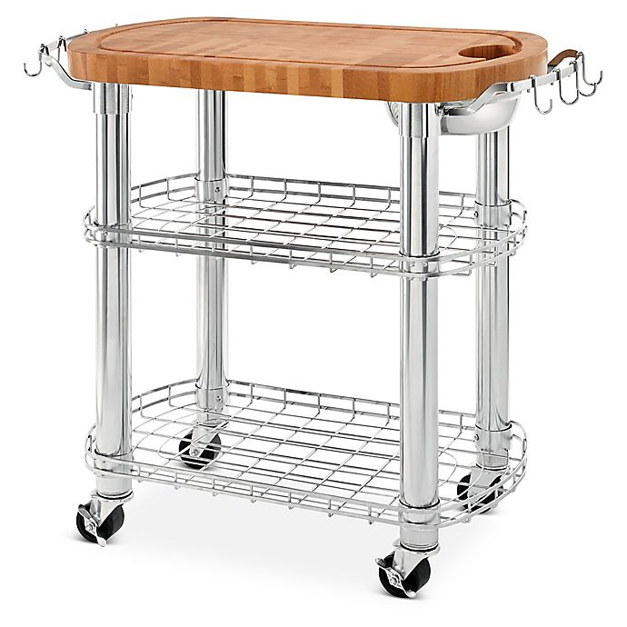 Seville Classics Stainless Steel Oval Kitchen Island Cart With