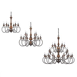 Quoizel Auburn Chandelier Collection in Rustic Black