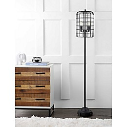 "JONATHAN Y Odette 65"" Industrial Metal Floor Lamp in Black"