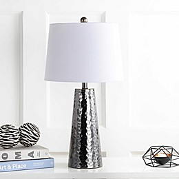 "JONATHAN Y Wells 26"" Hammered Metal Table Lamp in Black Nickel"