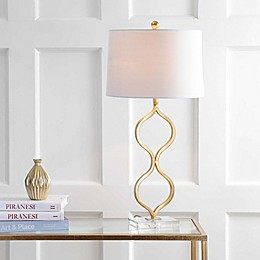 "JONATHAN Y Levi 31.5"" Metal/Crystal LED Table Lamp in Gold Leaf"