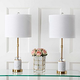 "JONATHAN Y Harper 27"" Marble LED Table Lamp in Brass (Set of 2)"