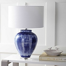 "JONATHAN Y Wayland 26"" Ceramic LED Table Lamp in Seaside Blue"